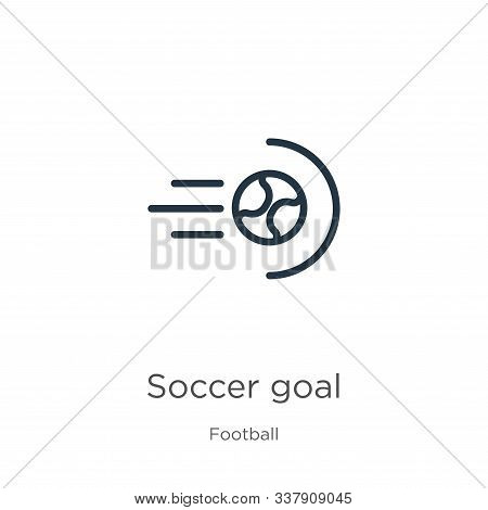 Soccer Goal Icon. Thin Linear Soccer Goal Outline Icon Isolated On White Background From Football Co