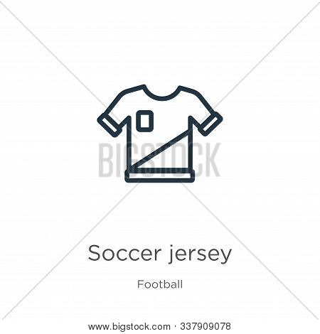 Soccer Jersey Icon. Thin Linear Soccer Jersey Outline Icon Isolated On White Background From Footbal