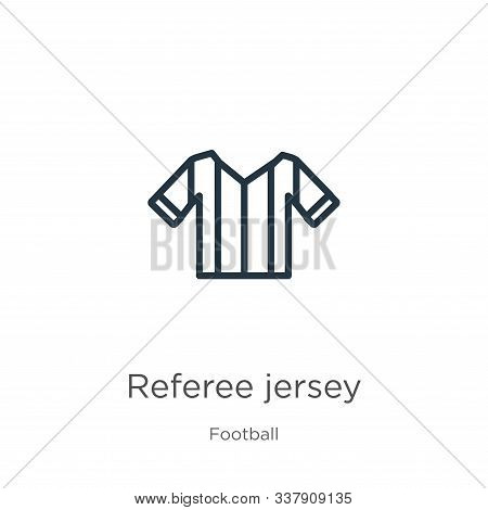 Referee Jersey Icon. Thin Linear Referee Jersey Outline Icon Isolated On White Background From Footb