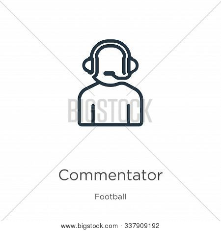 Commentator Icon. Thin Linear Commentator Outline Icon Isolated On White Background From Football Co
