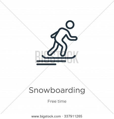 Snowboarding Icon. Thin Linear Snowboarding Outline Icon Isolated On White Background From Free Time