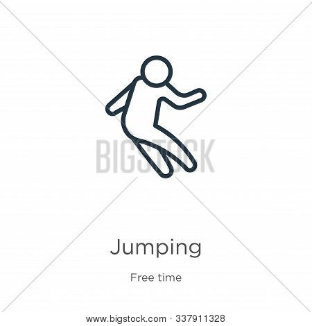 Jumping Icon. Thin Linear Jumping Outline Icon Isolated On White Background From Free Time Collectio