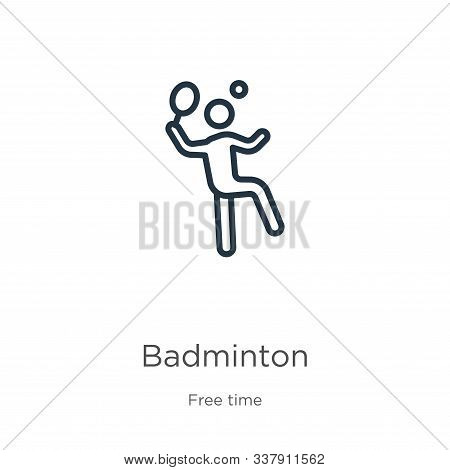 Badminton Icon. Thin Linear Badminton Outline Icon Isolated On White Background From Free Time Colle
