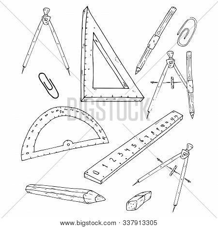 School Supplies Set. Vector Illustration Set Of Rulers, Compasses, Pencils, Paper Clips. Hand Drawn