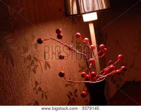 Red Berries Under The Lamp