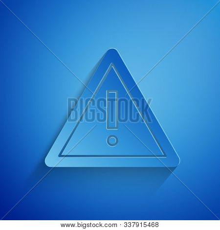 Paper Cut Exclamation Mark In Triangle Icon Isolated On Blue Background. Hazard Warning Sign, Carefu