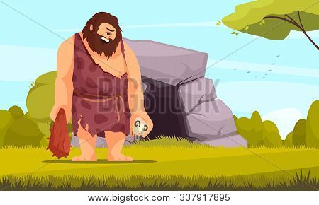 Mythical Creatures Flat Composition With Giant One Eye Cyclops With Bludgeon In Front Of Cave Vector