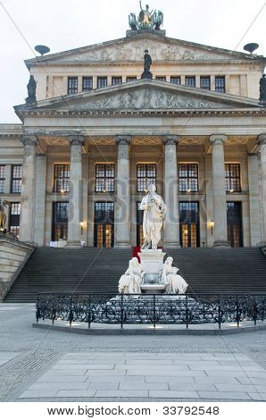Concert Hall Konzerthaus in The Gendarmenmarkt Berlin Germany statue of Germany's poet Friedrich Schiller poster