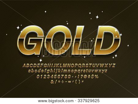 Black Golden Alphabet Letters, Numbers And Punctuation Symbols. Vector