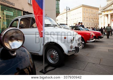 Trieste, Italy - October, 01: Fiat 500 Exposed At The