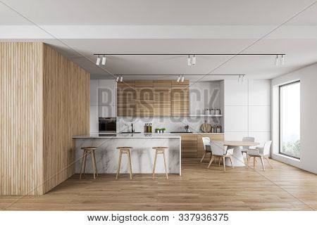 Luxury White And Wood Kitchen With Marble Bar