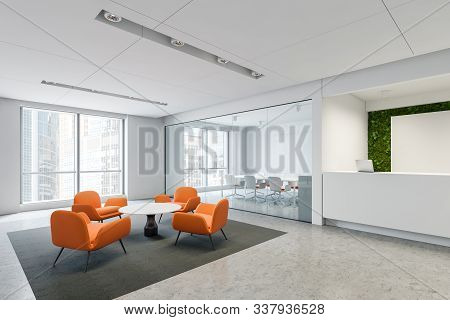 Reception And Waiting Room In Orange Office