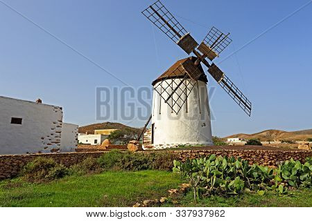 Traditional Windmill On The Island Of Fuerteventura In The Canary Island Cain Spain