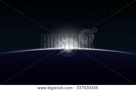 Sun Rising Over Planet On Outer Space - Sunrise On Dark Galaxy Background