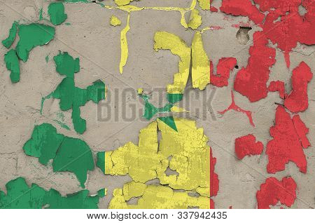 Senegal flag depicted in paint colors on old obsolete messy concrete wall closeup. Textured banner on rough background poster