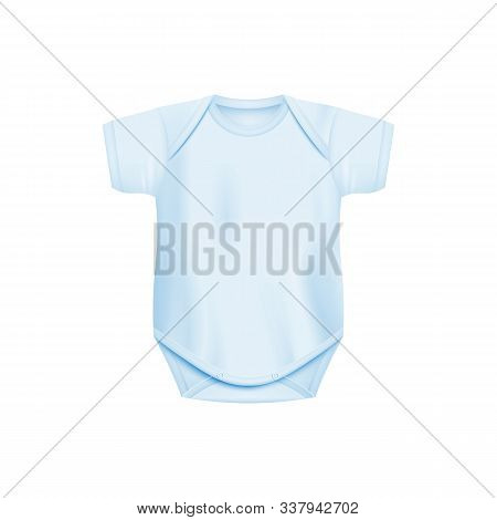 Baby Blue Cotton Soft Bodysuit With Crew-neck And Short Sleeves, Realistic Vector Template Illustrat