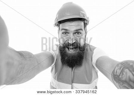 Building It Better In Concrete. Happy Builder Isolated On White. Building Contractor With Long Beard