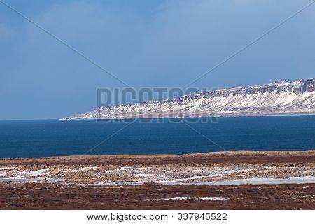 Iceland Weather And Icelandic Landscape, Winter In Iceland, Sunny Day In Winter, Icelandic Bayshore