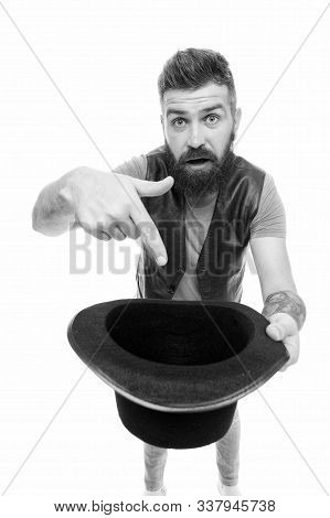 Begging For Something. Begging Man With Old Fashioned Hat. Bearded Man Pointing Finger At Begging Ha
