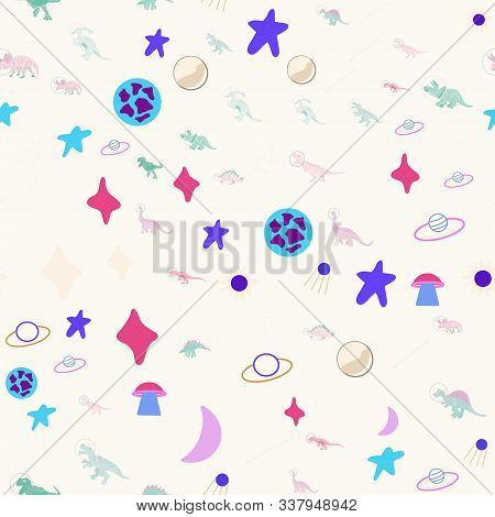 Space Dino Seamless Pattern On Cream Color. Cute Wild Galaxy Monster Endless Design. Joyous Reptile
