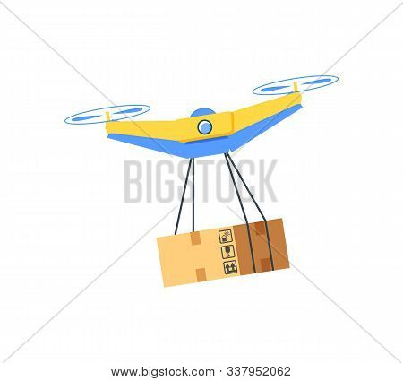 Flying Drone With Cardboard Package, Flat Design Style Of Modern Equipment With Hanging Box, Cargo W