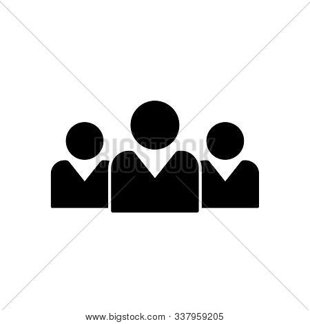 Team People Vector Silhouette Icon. Squad Of People Black Icon. Community Business Concept. Social U