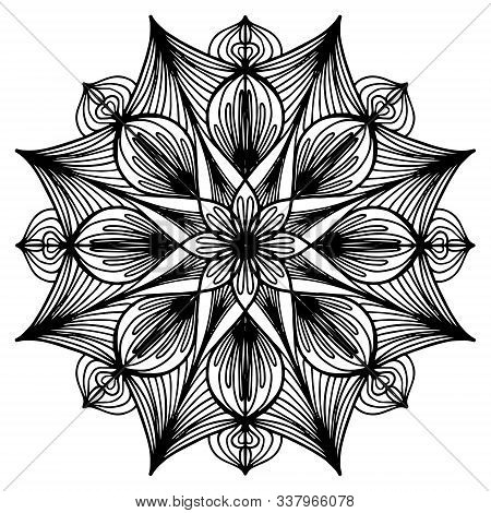 Children Coloring, Drawing. Leaves Set Of Different Plants And Trees. Star Shape Or Snowballs. Black