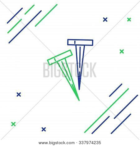 Blue And Green Line Pegs For Tents Icon Isolated On White Background. Extreme Sport. Sport Equipment