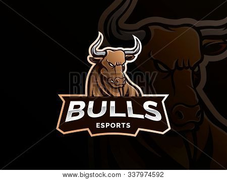 Bull Sport Gaming Mascot Logo Template. Esport Gaming Mascot Logo Template For Team. Wild Animal Vec