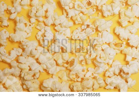 Cinema Session, Film, Popcorn, 3D Glasses. View Movie Concept, Discounts. Background Of Yellow Popco