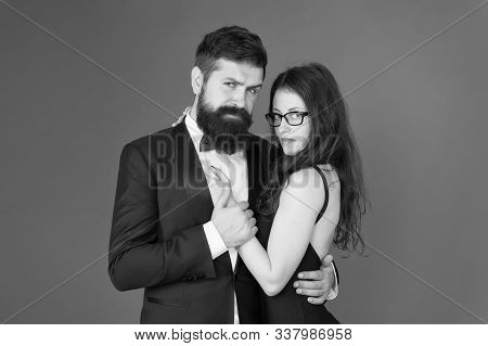Dating Together. Couple In Love Dating. Bearded Man And Sensual Woman On Date. Dating Romantic Relat