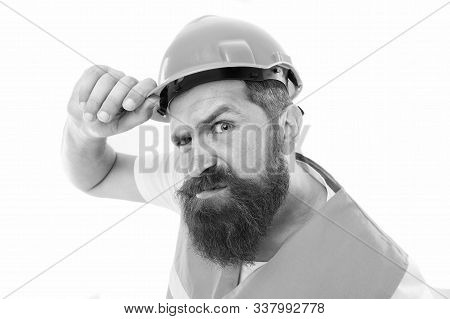 Picky Inspector. Protective Equipment Concept. Builder Crossed Hands Chest. Safety Is Main Point. Ma