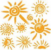 Set of handwritten sun symbols poster