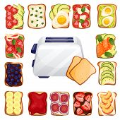 Toasted bread with various delicious toppers and toaster. Breakfast vector top view cartoon icons. Recipes and ingredients for healthy toast toppings. Restaurant or cafe brunch menu design elements. poster