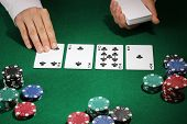 Poker setting on green table poster