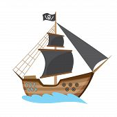 Wooden pirate buccaneer filibuster corsair sea dog ship icon game, isolated flat design. Color cartoon frigate. Vector illustration poster