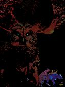 a dark nature collage with a giant owl and colorful wolves poster