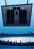 Ice Hockey Stadium with Scoreboard. Vector Illustration poster