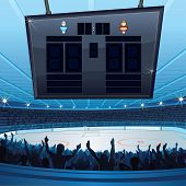 Hockey Stadium. Empty Scoreboard for your text poster