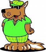 Cool cartoon dog wearing a golfing cap, short sleeved shirt and shorts. poster