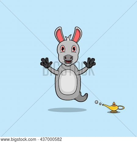 Cute And Funny Animals With Donkey. Genie Character. Perfect For Mascot, Logo, Icon, And Character D