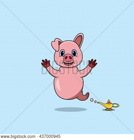 Cute And Funny Animals With Pig. Genie Character. Perfect For Mascot, Logo, Icon, And Character Desi