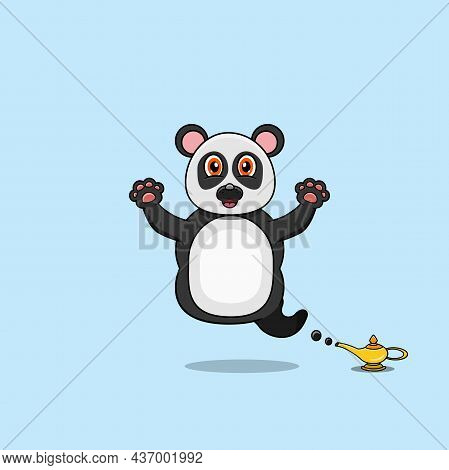 Cute And Funny Animals With Panda. Genie Character. Perfect For Mascot, Logo, Icon, And Character De