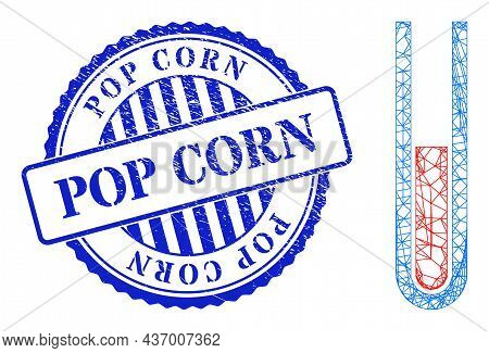 Vector Net Blood Test Tube Wireframe, And Pop Corn Blue Round Dirty Stamp Seal. Hatched Carcass Net