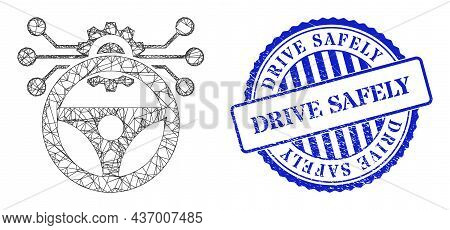 Vector Crossing Mesh Car Autopilot Scheme Model, And Drive Safely Blue Round Scratched Badge. Linear