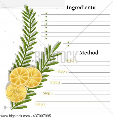 Vector Layout, Page Template For Food Recipe Entries. There Is A Place For Text, Ingredients, Method