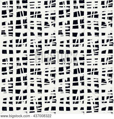 Grunge Chekered Seamless Pattern. Crushed Rough Edge Squares Ornament. Hand Drawn Geometric Print. P