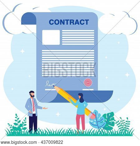 Vector Illustrationflat Style Businessman Signing Into Legal Document. Business Cooperation Concept.