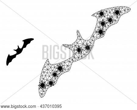 Mesh Polygonal Flying Bat Icon Illustration With Lockdown Style. Carcass Model Is Based On Flying Ba