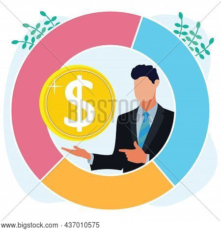 Vector Illustration Of Flat Style Income Growth And Profit Income As Financial Progress. Young Busin
